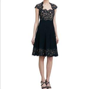 Tadashi Shoji Black Illusion Lace Pleated Dress 6